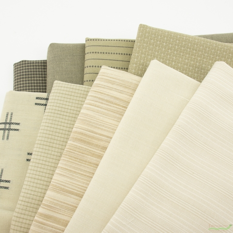 Moda, Boro Woven Foundations, Flax in FAT QUARTERS 9 Total