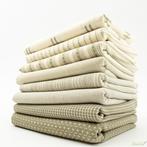 Moda, Boro Woven Foundations, Taupe in HALF YARDS 8 Total