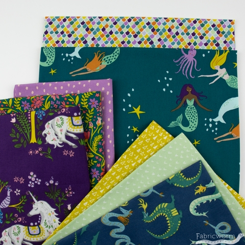 Monaluna Organic Fabric, Magical Creatures in FAT QUARTERS 8 Total (PRECUT)