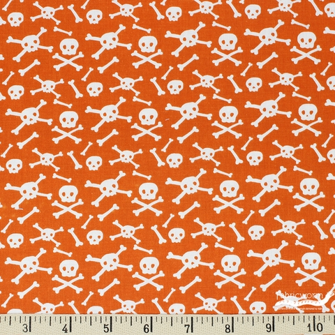 My Mind's Eye for Riley Blake, Cats, Bats, and Jacks, Skulls Orange