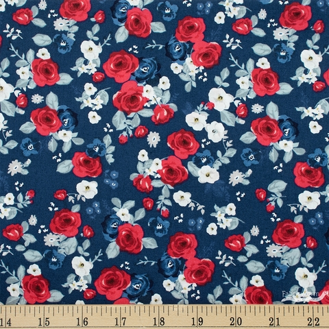 My Mind's Eye for Riley Blake, Land of Liberty, Floral Navy