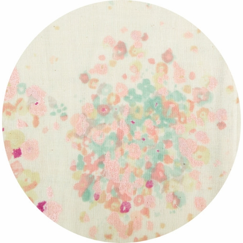 Nani Iro, DOUBLE GAUZE, Floral Splash Pastel Metallic Border Print