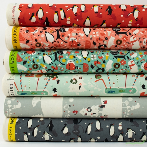 Naocom for Cotton + Steel, Waku Waku Christmas in FAT QUARTERS 6 Total (PRECUT)