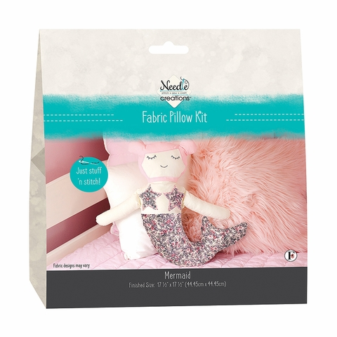 Needle Creations by Fabric Editions, Fabric Pillow Kit, Mermaid