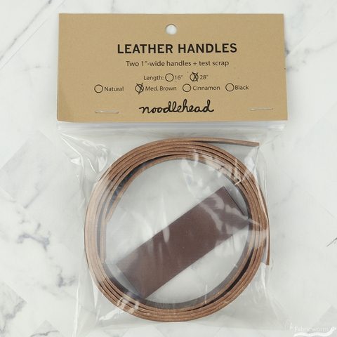 "Noodlehead, 1"" Wide Leather Handle Set, 28"" Brown"