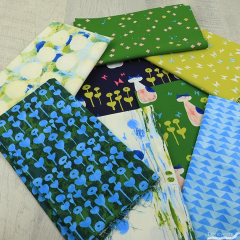 Oka Emi for Cotton and Steel, Once Upon A Time, Flower Rain Blue