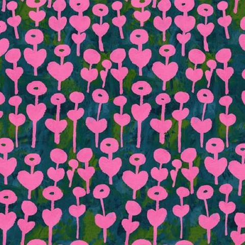 Oka Emi for Cotton and Steel, Once Upon A Time Rayon, Love Flower Pink