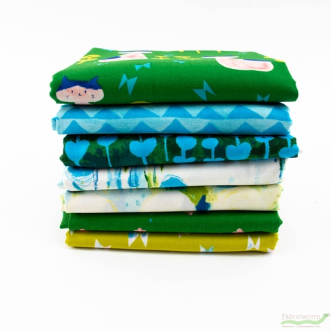 Oka Emi for Cotton + Steel, Once Upon A Time, Nya Nya Green and Blue Bundle 7 Total
