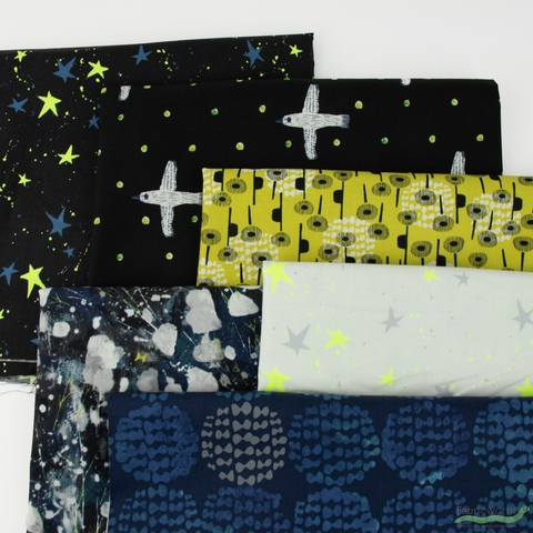 Oka Emi for Cotton + Steel, Snow Flowers, Citron in HALF YARDS 6 Total