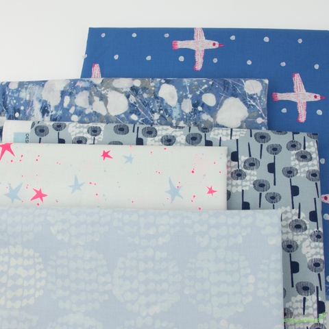 Oka Emi for Cotton + Steel, Snow Flowers, Entire Collection PRE-CUT Fat Quarter Fabric Roll