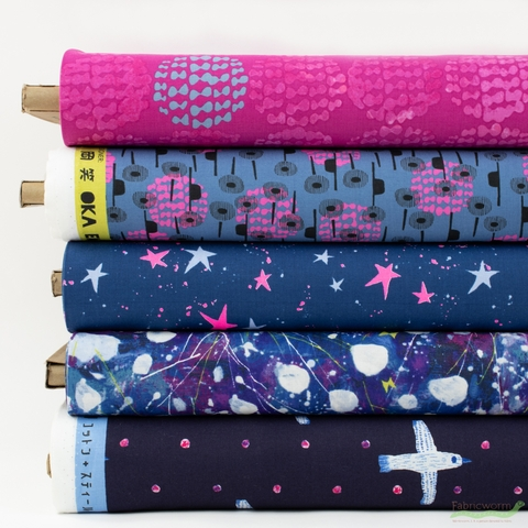 Oka Emi for Cotton + Steel, Snow Flowers, Magenta in HALF YARDS 5 Total
