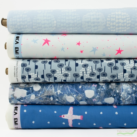 Oka Emi for Cotton + Steel, Snow Flowers, Sky in FAT QUARTERS 5 Total