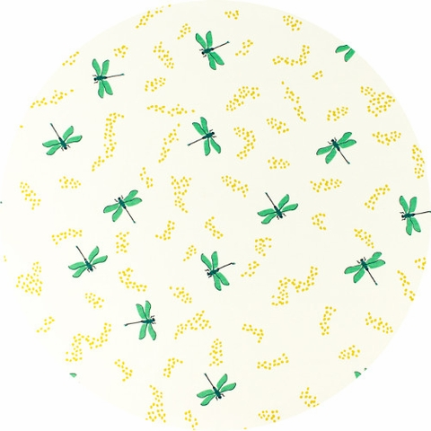 Patrick and Andrea Patton for Birch Organic Fabrics, Swan Lake, DOUBLE GAUZE, Dragonflies Cream
