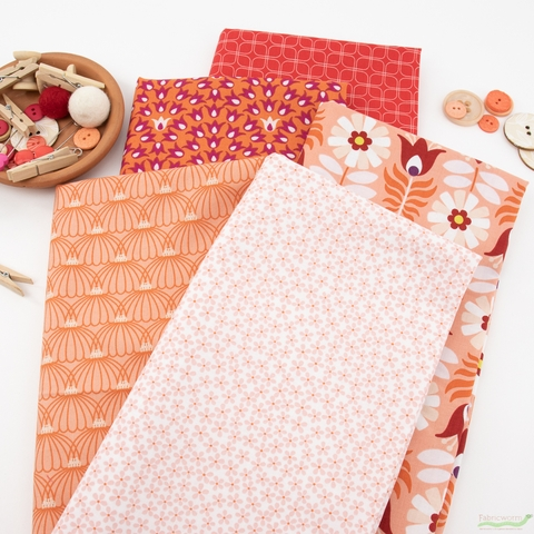 Pippa Shaw for FIGO, Midsommar, Orange in FAT QUARTERS 5 Total