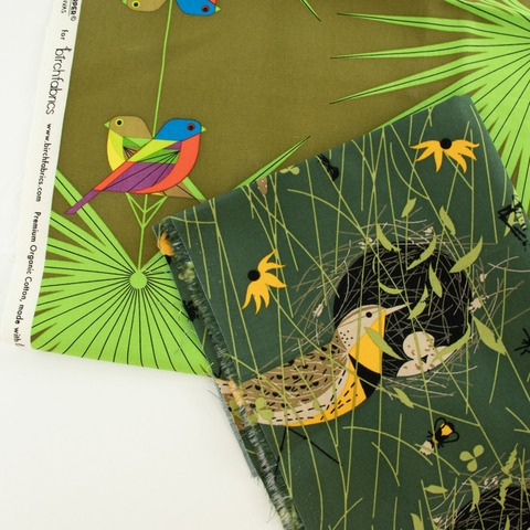 Charley Harper for Birch Organic, Canvas 2021, Flamboyant Feathers