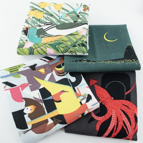 Charley Harper for Birch Organic Fabrics, Barkcloth 2021, Once There Was A Field