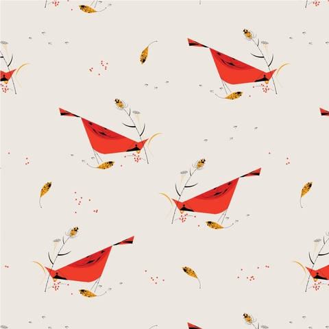 PREORDER NOW, Charley Harper for Birch Organic Fabrics, Holidays 2020, Berry Feast