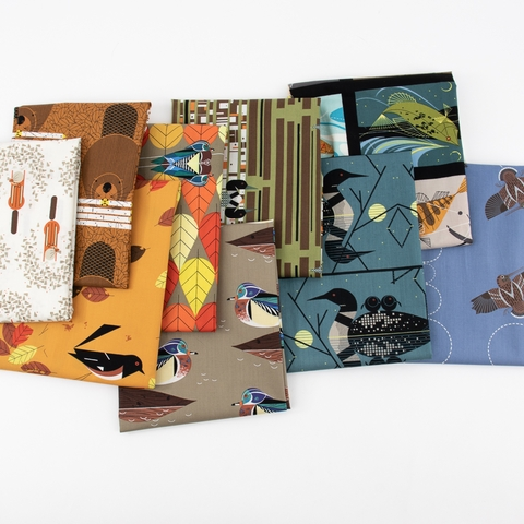 PREORDER NOW, Charley Harper for Birch Organic Fabrics, Lakehouse Vol. 1 in HALF YARDS 9 Total