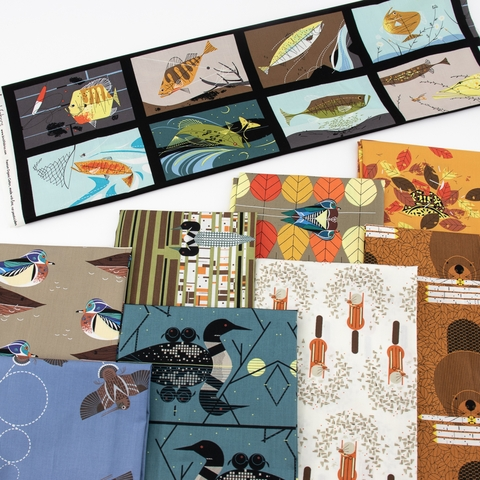 PREORDER NOW, Charley Harper for Birch Organic Fabrics, Lakehouse Vol. 1, Loonscape