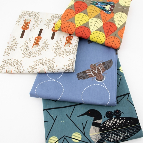PREORDER NOW, Charley Harper for Birch Organic Fabrics, Lakehouse Vol. 1, Octoberama Lake