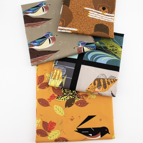 PREORDER NOW, Charley Harper for Birch Organic Fabrics, Lakehouse Vol. 1, Wood Duck