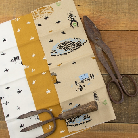 Charley Harper for Birch Organic Fabrics, New Frontier, Horse and Buggy Cream