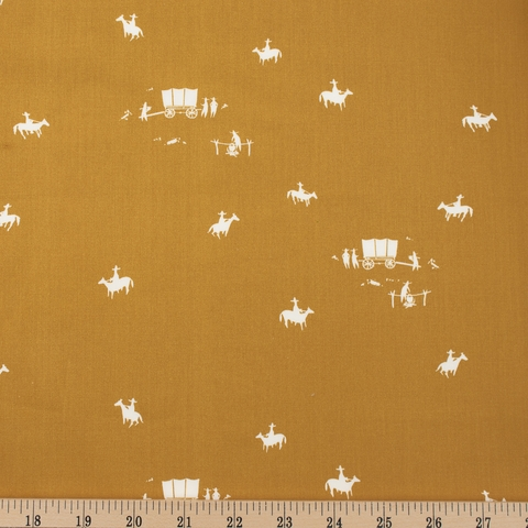 Charley Harper for Birch Organic Fabrics, New Frontier, Horse and Buggy Ochre