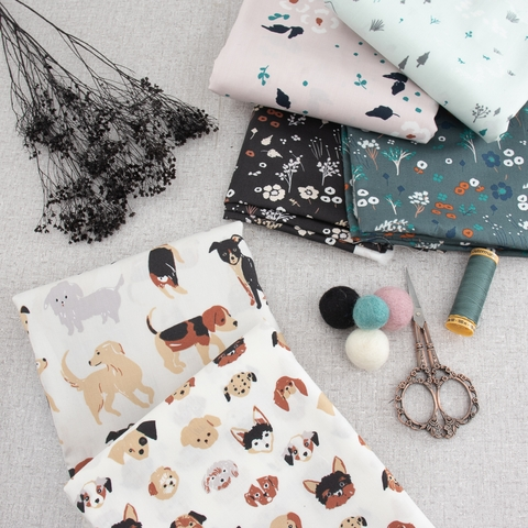 PREORDER NOW, Jenny Ronen for Birch Organic, Dog Park, Fabric Collection Bundle 6 Total