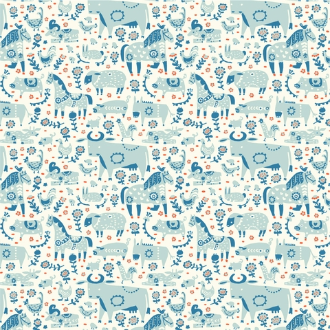 PREORDER NOW, Kristen Balouch for Birch Organic Fabrics, Barnyard, Grazing Day Blue