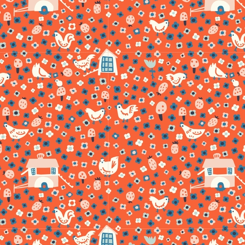 PREORDER NOW, Kristen Balouch for Birch Organic Fabrics, Barnyard, Henhouse Holiday Red