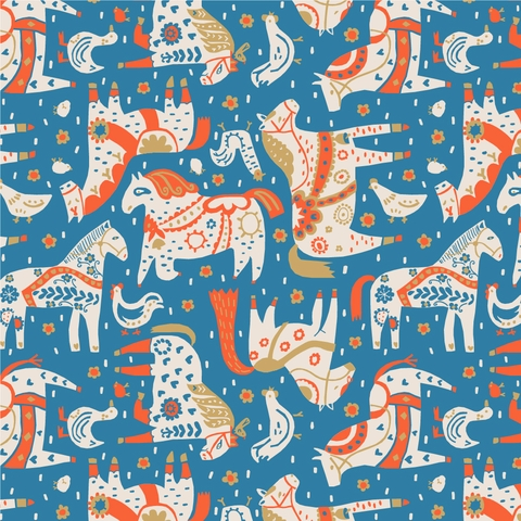 PREORDER NOW, Kristen Balouch for Birch Organic Fabrics, Barnyard, Painted Horses Red