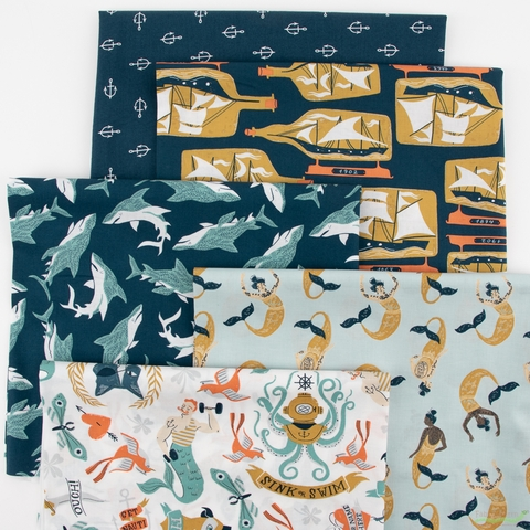 Rae Ritchie for Dear Stella, Sink or Swim, Siren Song in FAT QUARTERS 5 Total