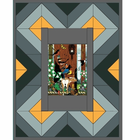 Red River Quilt Kit Featuring Charley Harper Sierra Range in Shade