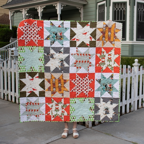 Reverse Sawtooth Star Quilt Kit Featuring Charley Harper Holidays 2020 From Birch Organic