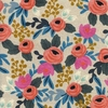 Rifle Paper Co. for Cotton and Steel, Les Fleurs Canvas, Rosa Floral Natural