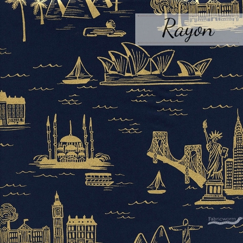 Rifle Paper Co. for Cotton and Steel, Les Fleurs Lawn, City Toile Navy Metallic