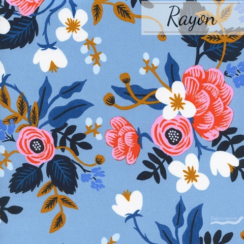 Rifle Paper Co. for Cotton and Steel, Les Fleurs Rayon, Birch Floral Periwinkle