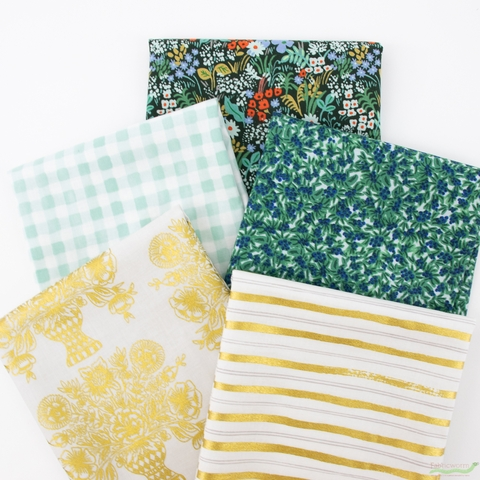 Rifle Paper Co. for Cotton and Steel, Meadow, Afternoon PRE-CUT in FAT QUARTERS 5 Total
