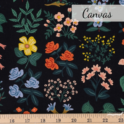 Rifle Paper Co. for Cotton and Steel, Meadow Canvas, Wildflower Field Black