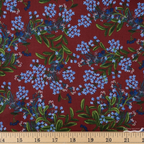 Rifle Paper Co. for Cotton and Steel, Meadow, Cornflower Burgundy Fat Quarter