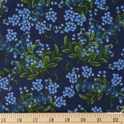 Rifle Paper Co. for Cotton and Steel, Meadow, Cornflower Navy Fat Quarter