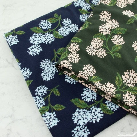 Rifle Paper Co. for Cotton and Steel, Meadow Jersey Knit, Hydrangea Hunter