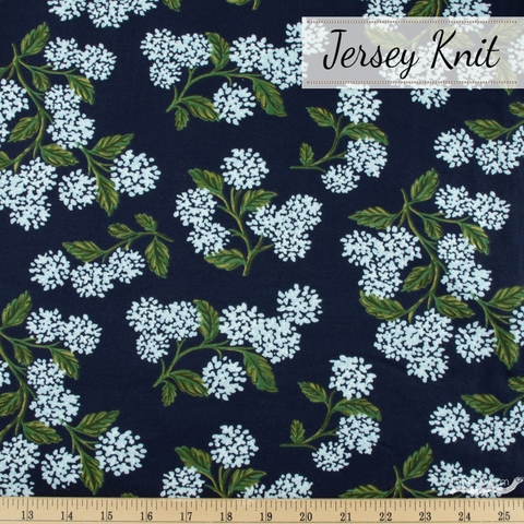Rifle Paper Co. for Cotton and Steel, Meadow Jersey Knit, Hydrangea Navy