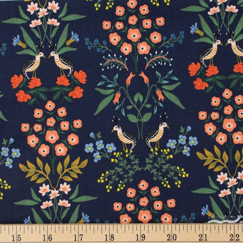 Rifle Paper Co. for Cotton and Steel, Meadow, Luxembourg Navy Fat Quarter