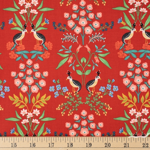 Rifle Paper Co. for Cotton and Steel, Meadow, Luxembourg Red Fat Quarter