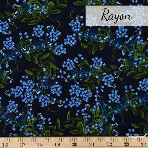 Rifle Paper Co. for Cotton and Steel, Meadow Rayon, Cornflower Navy