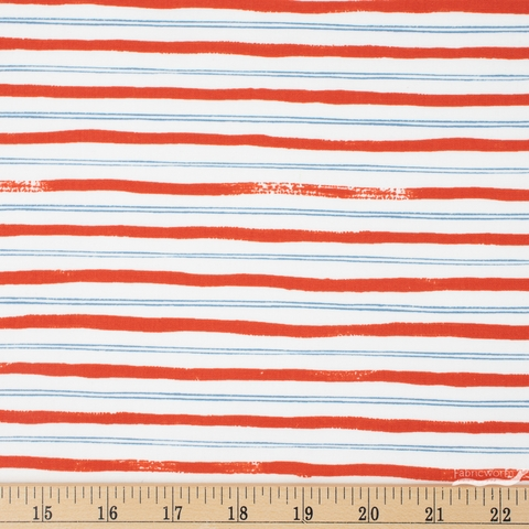 Rifle Paper Co. for Cotton and Steel, Meadow, Stripes Red Fat Quarter