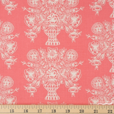 Rifle Paper Co. for Cotton and Steel, Meadow, Vase Block Print Coral