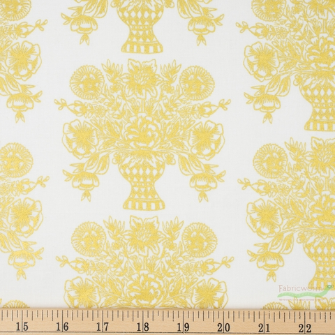 Rifle Paper Co. for Cotton and Steel, Meadow, Vase Block Print Cream Metallic Fat Quarter