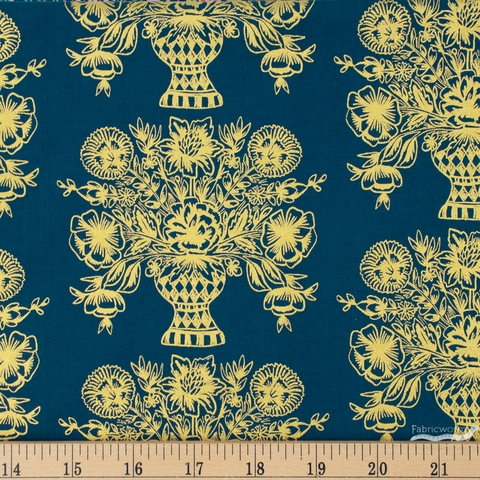 Rifle Paper Co. for Cotton and Steel, Meadow, Vase Block Print Navy Metallic